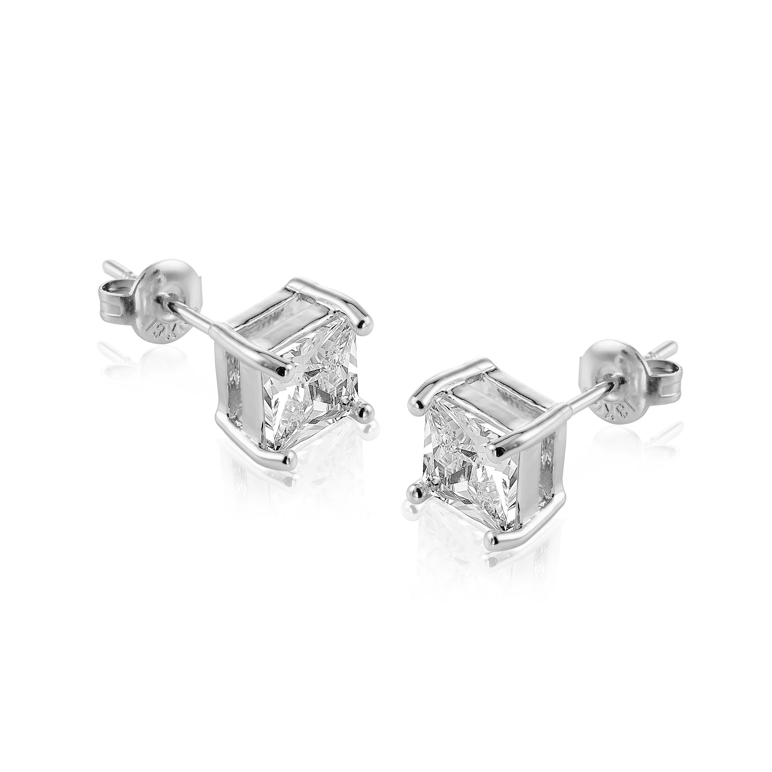 Square Cut 18k White Gold Plated Earrings Made With Cubic Zirconia