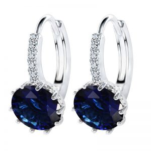 18K Gold Plated Brilliant Cut Blue Simulated Sapphire Earrings