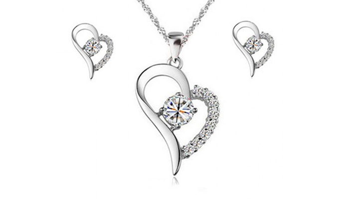 Rhodium Plated Heart Shaped Pendant Earrings With Swarovski Crystals